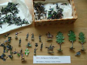Large collection Vintage flat tin soldiers 30mm - zinnfiguren (Lot 4)