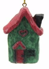 Green Red Ceramic House Christmas Ornament Holiday Decoration