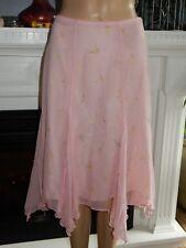 Betsey Johnson Pink Silk Skirt with Butterflies Lined Hankerchief Hem 6 $172.