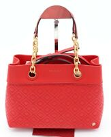 aec4697f955f NWT Tory Burch Fleming Red Leather Small Tote Satchel Shoulder Bag 46164   498