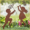 Children BOY or GIRL SILHOUETTE Chasing Insects Garden Yard STAKE Rustic Decor