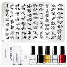 8Pcs/Set NICOLE DIARY Flower Nail Art Stamping Plates Polish Stamper Scraper Kit