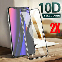 [2-Pack] For iPhone 11 Pro X XR XS Max 10D Tempered Glass Full Screen Protector