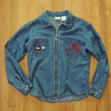 Disney Mickey Mouse Vtg Denim Zip Up Embroidered Jacket Womens Size Medium