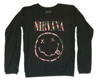 d3ccdca480e Nirvana Floral Smiley Face Girls Juniors Black Long Sleeve Shirt New  Official