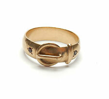 Buckle ring garnet set 9 carat gold london 1986