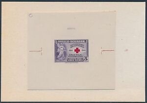 """ECUADOR #C133P DIE PROOF ON INDIA ON CARD WITH CONTROL # """"RED CROSS"""" BS3580"""