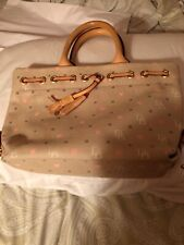 Dooney and Bourke W/Tassel Snap Close Hand Bag W/Logo Canvas &wooden Handles