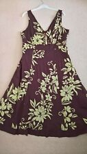 Monsoon Brown & Lime Green Floral Print Fit & Flare Cotton Midi Dress, Size 16