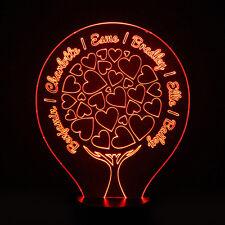 Family Tree Personalised 7 Colour LED Night Light Keepsake Wedding Birthday Gift