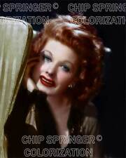 LUCILLE BALL POSING IN GREEN CHAIR BEAUTIFUL COLOR PHOTO BY CHIP SPRINGER