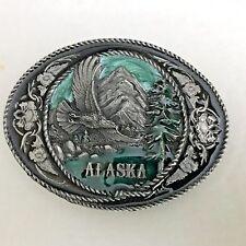 Vintage 1991 Siskiyou Alaska Belt Buckle in Pewter & Enamel