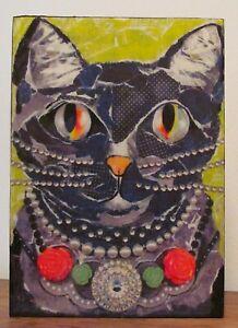 BLACK CAT WITH BIG EYES MINIATURE DESK ART OR WALL AFFORDABLE ART FOLK ART STYLE