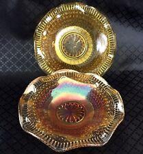 Art Deco Glass Bowl Dish Pair Carnival Luster Orange