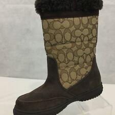 Coach Sherman Sig Boots Sz 6 B Suede Chestnut Khaki Winter NWOB Brown C Logo