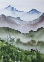 ACEO ATC original art miniature painting ' Mist in Mountains ' by Bill Lupton