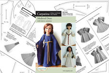"""Doll Clothes Sewing Pattern for Medieval Dress Fit 18"""" American Girl & Carpatina"""