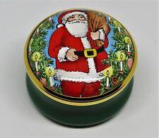 Halcyon Days Enamel Box - Christmas - Santa Claus & Wreath & Candles