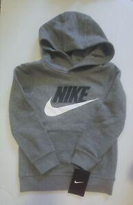 Nike Little Boys Swoosh Fleece Hoodie Carbon Heather Sz 5 - NWT