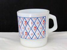 Termo Rey Milk Glass Coffee Cup Red White & Blue Tulip Flower Diamond Pattern