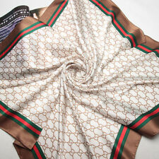 """35"""" Square 100% Silk Scarf Women Shawl thick Wrap large beige brown 203-037-X"""