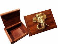petit Boîte à trésors,Bois massif,rustique avec Tête d'éléphant en Couleur dorée