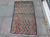 Old Traditional Hand Made Persian Oriental Gabbeh Wool Grey Brown Rug 144x82cm
