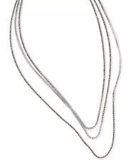 lucky brand silver tone crystal long wrap strand necklace lobster clasp new