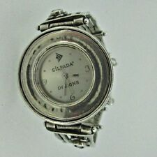 Silpada Sterling Silver Round Hammered Pearl Flower Ladies Watch Retired T1315
