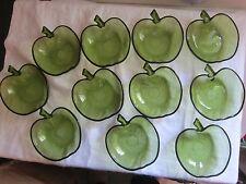 Vintage Hazel Atlas Green Apple Set 11 Green Glass Dishes for Fall Autumn treats