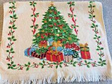 Vintage Christmas Tree w Presents Kitchen Towel. Holly border