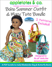 """American Girl Doll Sewing Pattern - Boho Summer Outfit & Macy Tote for 18"""" Dolls"""
