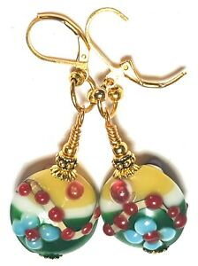 Long Gold Green Yellow Leverback Earrings Lampwork Glass Flower Bead Drop Dangle