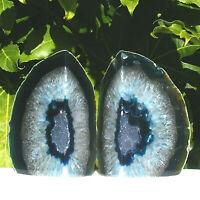 Blue Agate Bookend Set Large Polished Geode with Quartz Crystal 2.1kg 18.5cm