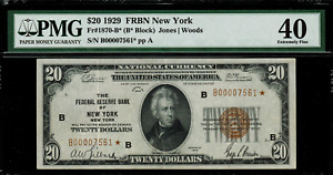 1929 $20 Federal Reserve Bank Note - New York - Star Note FR.1870-B* - PMG 40