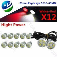 12Pcs Switchback Dual Color Red/White 5730 6-SMD Eagle Eye Led Light DRL 9W 23MM