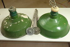 "2 Vintage Green Porcelain Enamel Metal Shade Barn Light Fixture Gas 18"" w mounts"