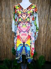 Plus Size Sheer Chiffon Embellished Kaftan Digital Printed Size 16 - 26 One Size