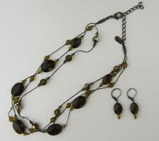 "DABBY REID 'ANNIE'  17"" 3 STRAND Army GREEN NECKLACE & EARRINGS"