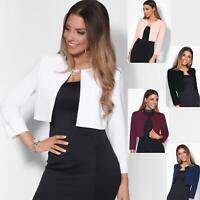 Womens Ladies Bolero Shrug Crop Top Open Fit Blazer Evening Bow Jacket Wedding