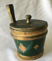 VTG Italy Florentine Ice Bucket Butter Biscuit Barrel Green Guilt Wood Tole Box