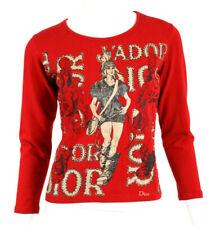 DIOR Lipstick Red Cotton Ecru & Black Runway Logo Graphic Knit Top 38