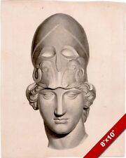 ANTIQUE STATUE HEAD & HELMET INK DRAWING PAINTING ART REAL CANVAS GICLEE PRINT