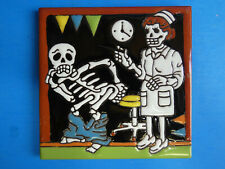 "Day Of The Dead Nurse Giving Shot Medical 6""x6"" Mexican Talavera Tile New N25"