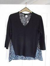 BNWT Black front, black/white animal print back v-neck 3/4 sleeved top Size 12