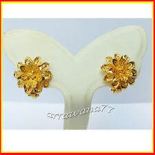 22K 23K THAI YELLOW GOLD GP FLOWER EARRINGS JEWELRY E2
