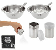 Stainless Steel Mixing Bowl Flour/Sugar Shaker and Whisk-Perfect Baking Day Set