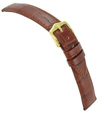 13mm Hirsch Duke Alligator Grain Genuine Leather Light Brown Ladies Watch Band