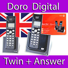 DORO ARCTIC 25R+1 TWIN DUO DIGITAL CORDLESS DECT PHONE ANSWER MACHINE GAP COMP