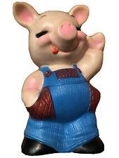 "Russ Berrie 1974 Plastic Pig Piggy Piggie Bank 9.5"" Mcm No Plug"